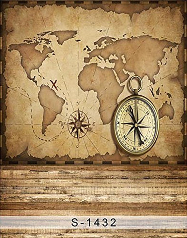 Nautical Sailor Map Compass Photography Studio Backdrop Background