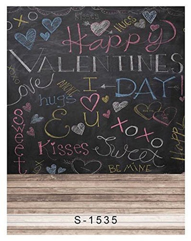 Valentines Love Hug Kiss Chalkboard Blackboard Photography Studio Backdrop Background
