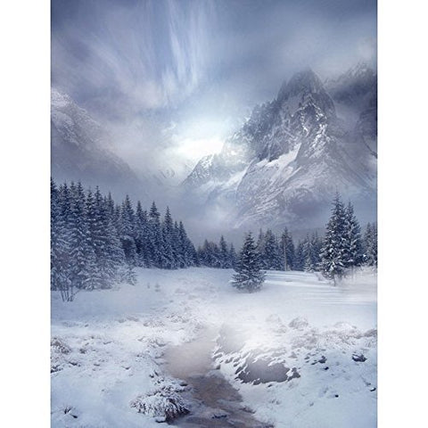 Moutain Winter Snow River Photography Studio Backdrop Background