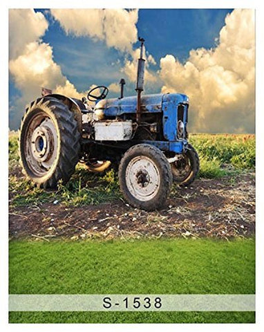 Farm Blue Tractor Field Sky Photography Studio Backdrop Background