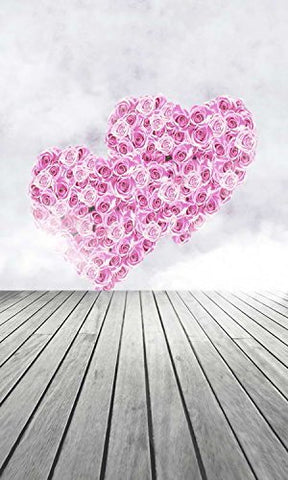 Two Pink Heart Love Wood Floor Photography Studio Backdrop Background