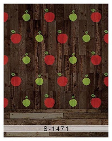 Cartoon Red Green Apple Wood Photography Studio Backdrop Background