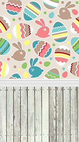 Cartoon Easter Eggs Rabits Wood Floor Photography Studio Backdrop Background