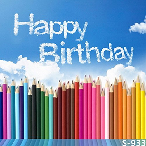 Color Pencil Happy Birthday Cloud Photography Studio Backdrop Background