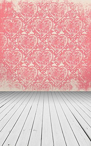 Retro Pink Love Heart Pattern Wood Floor Photography Studio Backdrop Prop Background