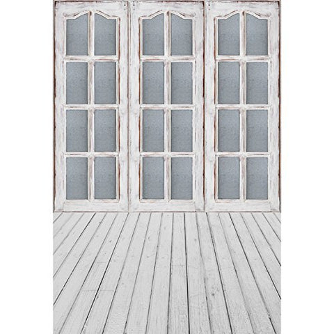Gray Sliding Door Window Wood Floor Photography Studio Backdrop Background