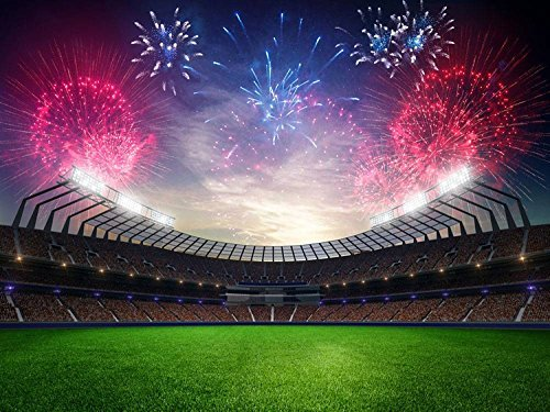 Football Green Field Fireworks Photography Studio Backdrop Background