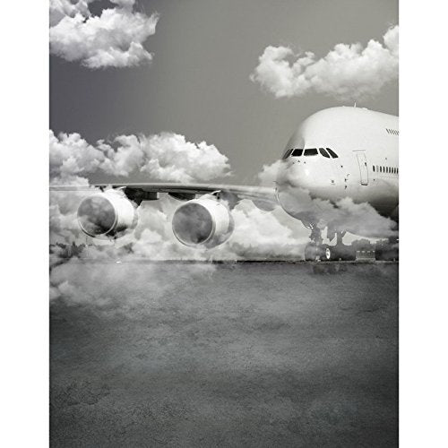 Black And White Airplane Digital Photography Studio Backdrop Background