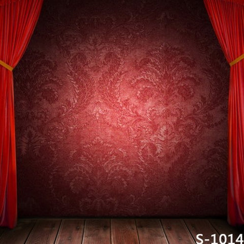 Red Wallpaper Curtain Stage Wood Floor Photography Studio Backdrop Background