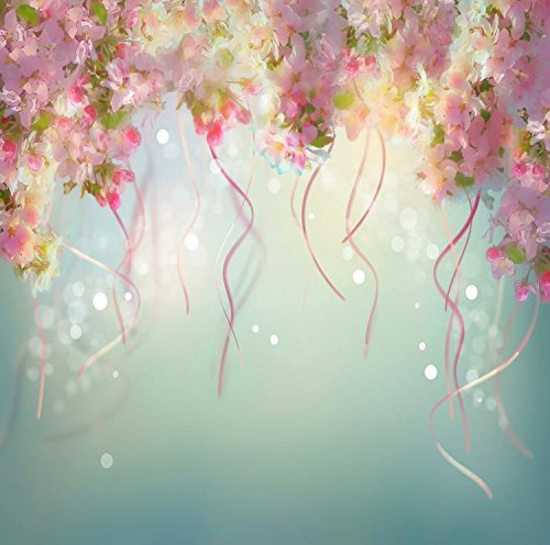 Blue Pink Flowers Ribbons Photography Studio Backdrop Prop Background