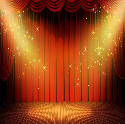 Red Curtain Gold Start Spotlight Stage Photography Studio Backdrop Background