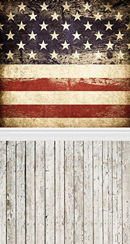 Patriotic American Stars and Stripes Flags Wood Floor Photography Studio Backdrop Background