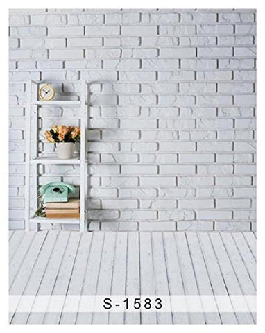 White Brick Wall Wood Floor Photography Studio Backdrop Background