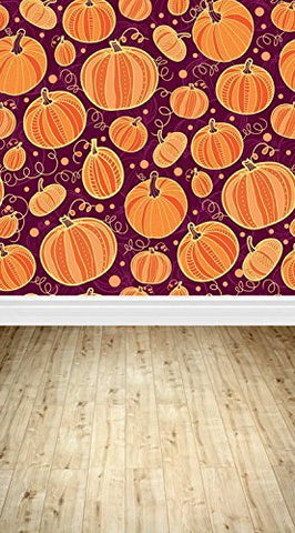 Cartoon Halloween Pumpkin Wood Floor Photography Studio Backdrop Background