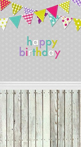 Birthday Colorful Flags Wood Floor Photography Studio Backdrop Prop Background