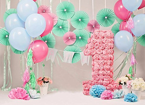 Baby One Year Birthday Pinwheels Balloon Photography Studio Backdrop Background
