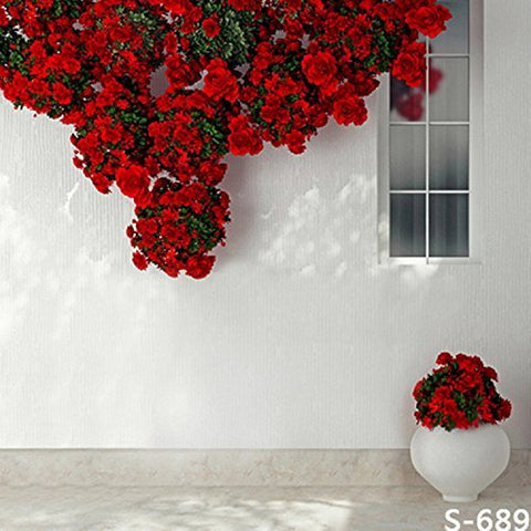White Wall Window Rose Flower Photography Studio Backdrop Background