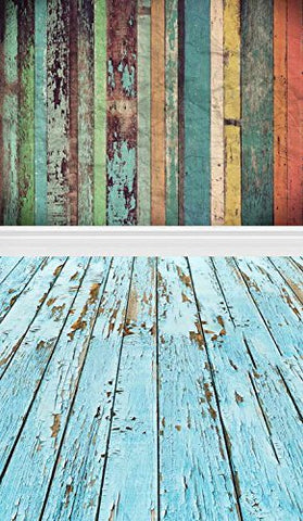 Colorful Wood Wall Floor Photography Studio Backdrop Prop Background