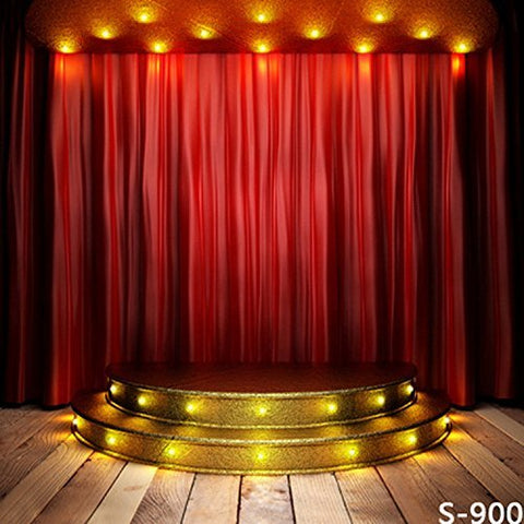 Gold Stage Red Curtain Wood Floor Photography Studio Backdrop Background