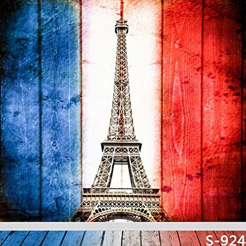 France National Flag Eiffel Tower Wood Floor Photography Studio Backdrop Background