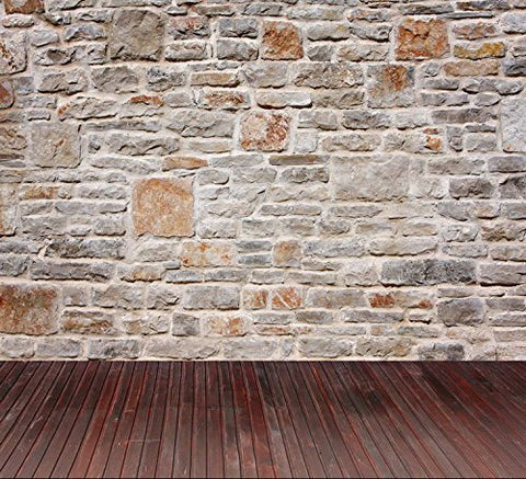 Stone Wall Wood Floor Photography Studio Backdrop Prop Background