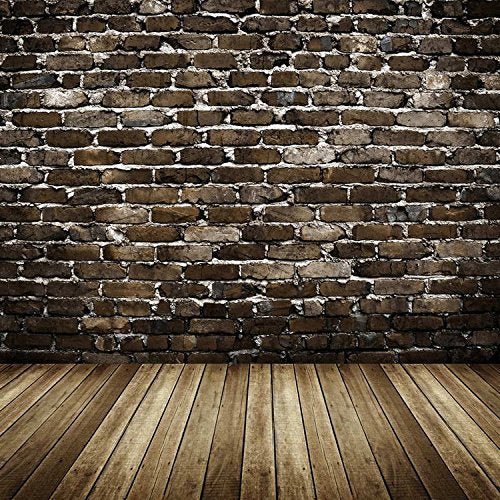 Dark Brick Wall Wood Floor Photography Studio Backdrop Prop Background