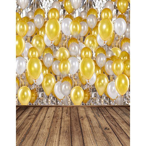Gold And White Balloons Photography Studio Backdrop Background