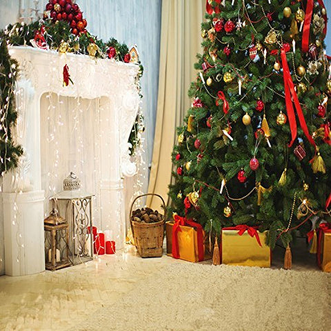 Christmas Tree White Fireplace Gift Photography Studio Backdrop Background
