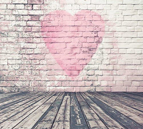 Brick Wall Red Heart Wood Floor Photography Studio Backdrop Prop Background