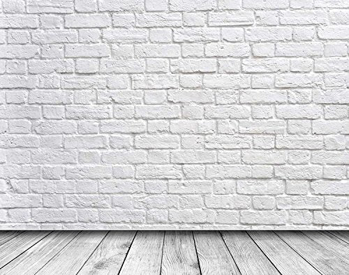 White Brick Wall Wood Floor Photography Studio Backdrop Prop Background