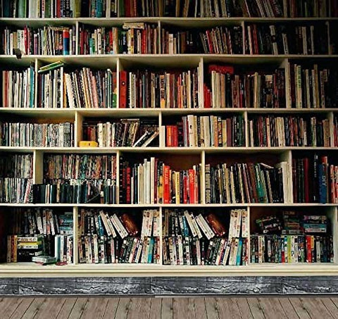 Bookshelf Library Wood Floor Photography Studio Backdrop Background