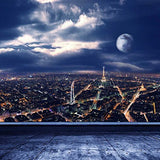 Paris Night Landscape Outlook Scene View Photography Studio Backdrop Background