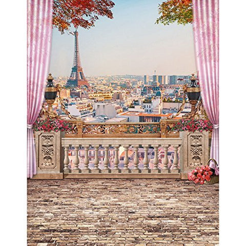 Eiffel Tower Paris Balcony Photography Studio Backdrop Background
