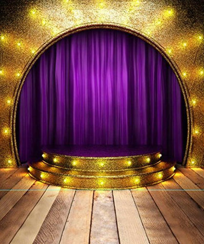 Purple Circle Stage Wood Floor Photography Studio Backdrop Background