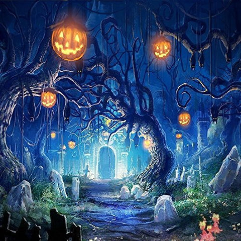 Halloween Hallowmas Cemetery Pumpkin Photography Studio Backdrop Background