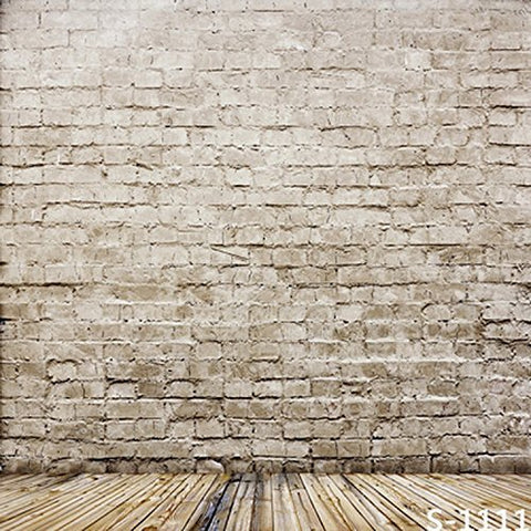 White Gray Yellow Brick Wall Wood Floor Photography Studio Backdrop Background