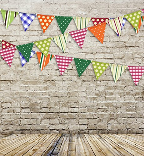 Colorful Birthday Flags Brick Wall Wood Floor Photography Studio Backdrop Background