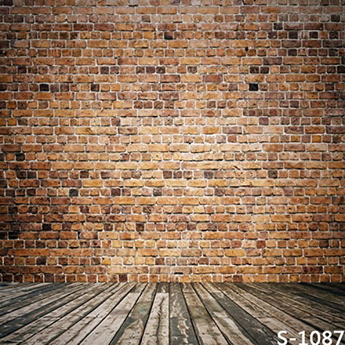 Small Brown Brick Wall Wood Floor Photography Studio Backdrop Background