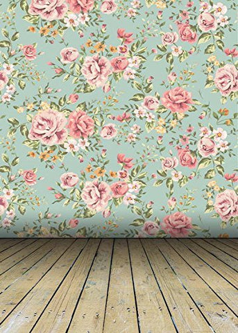 Retro Pink Rose Flowers Wood Floor Photography Studio Backdrop Prop Background
