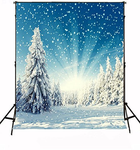 Christmas Xmas Snow Tree Blue Photography Studio Backdrop Prop Background