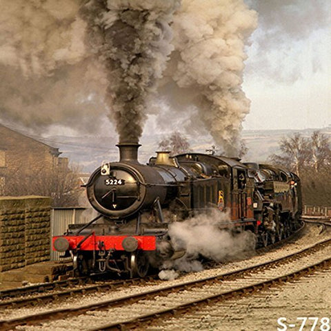 Old Vintage Move Steam Locomotive Railway Train Photography Studio Backdrop Background