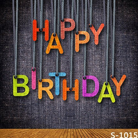 Happy Birthday Words Wood Floor Photography Studio Backdrop Background