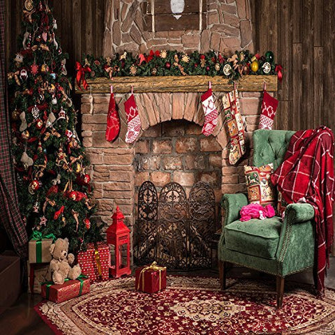 Christmas Tree Fireplace Socks Sofa Photography Studio Backdrop Background
