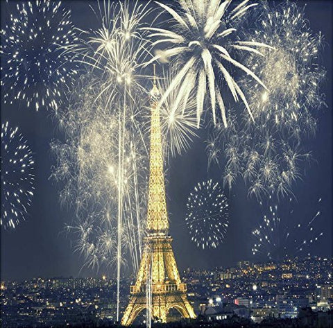 Paris Eiffel Tower Night Fireworks Photography Studio Backdrop Background
