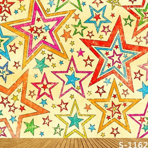 Colorful Five Pointed Star Wood Floor Photography Studio Backdrop Background
