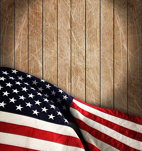 Patriotic American Stars and Stripes Flags Wood Photography Studio Backdrop Background