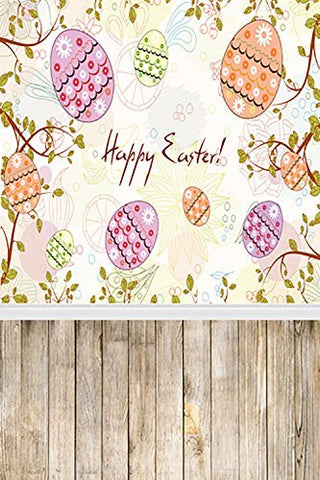 Happy Easter Day Eggs Wood Floor Photography Studio Backdrop Background