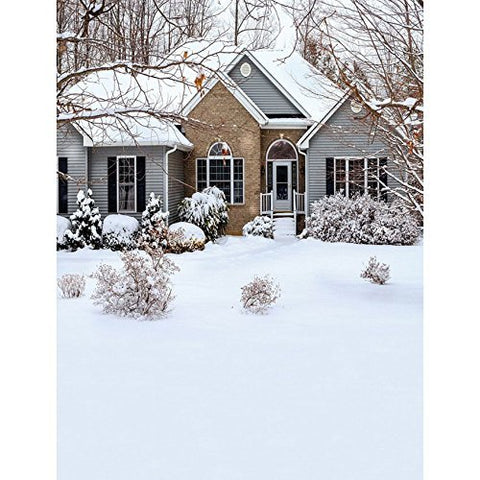Snow Villa Winter Garden Photography Studio Backdrop Background