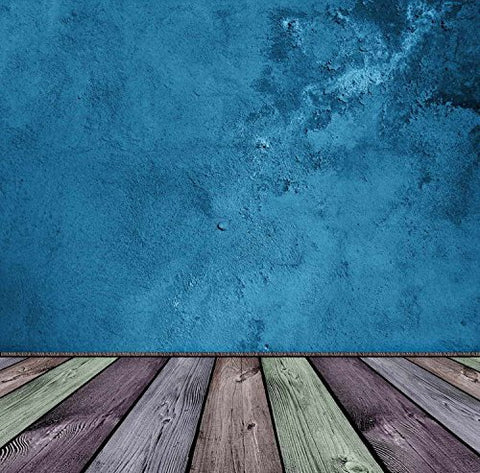 Solid Blue Wall Colorful Floor Photography Studio Backdrop Prop Background