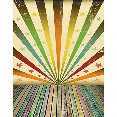 Colorful Radial Star Lines Wood Floor Boards Plank Photography Studio Backdrop Background